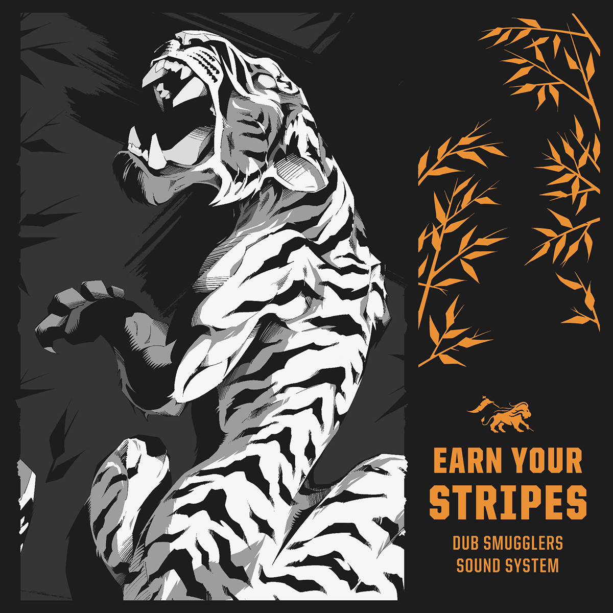 LP cover art featuring illustration of a roaring white tiger.