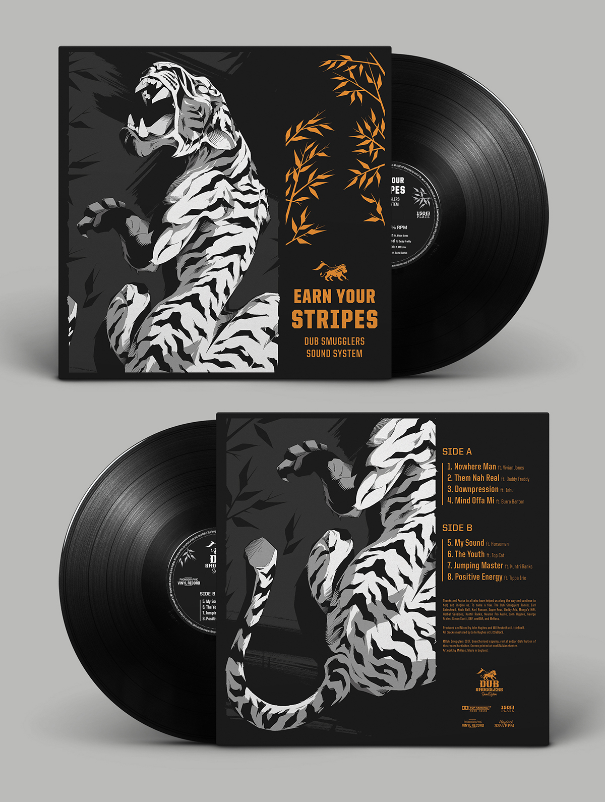 Record sleeve front and back for the 'Earn Your Stripes' LP.