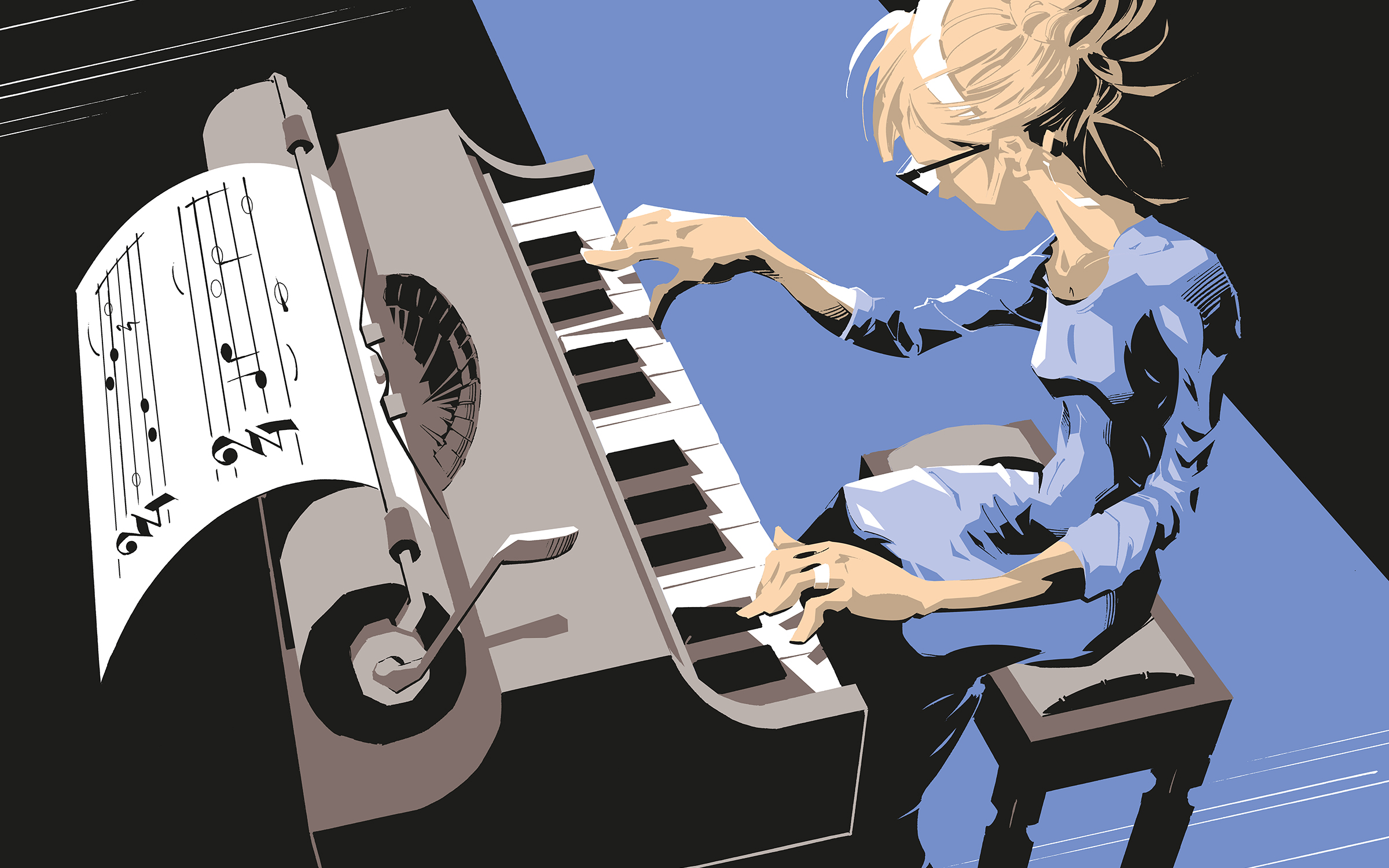 Illustration of woman composing sheet music on a piano amalgamated with a typewriter.
