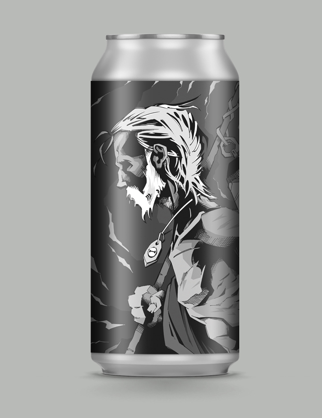 Beer can with illustrated artwork of Diogenes of Sinope.