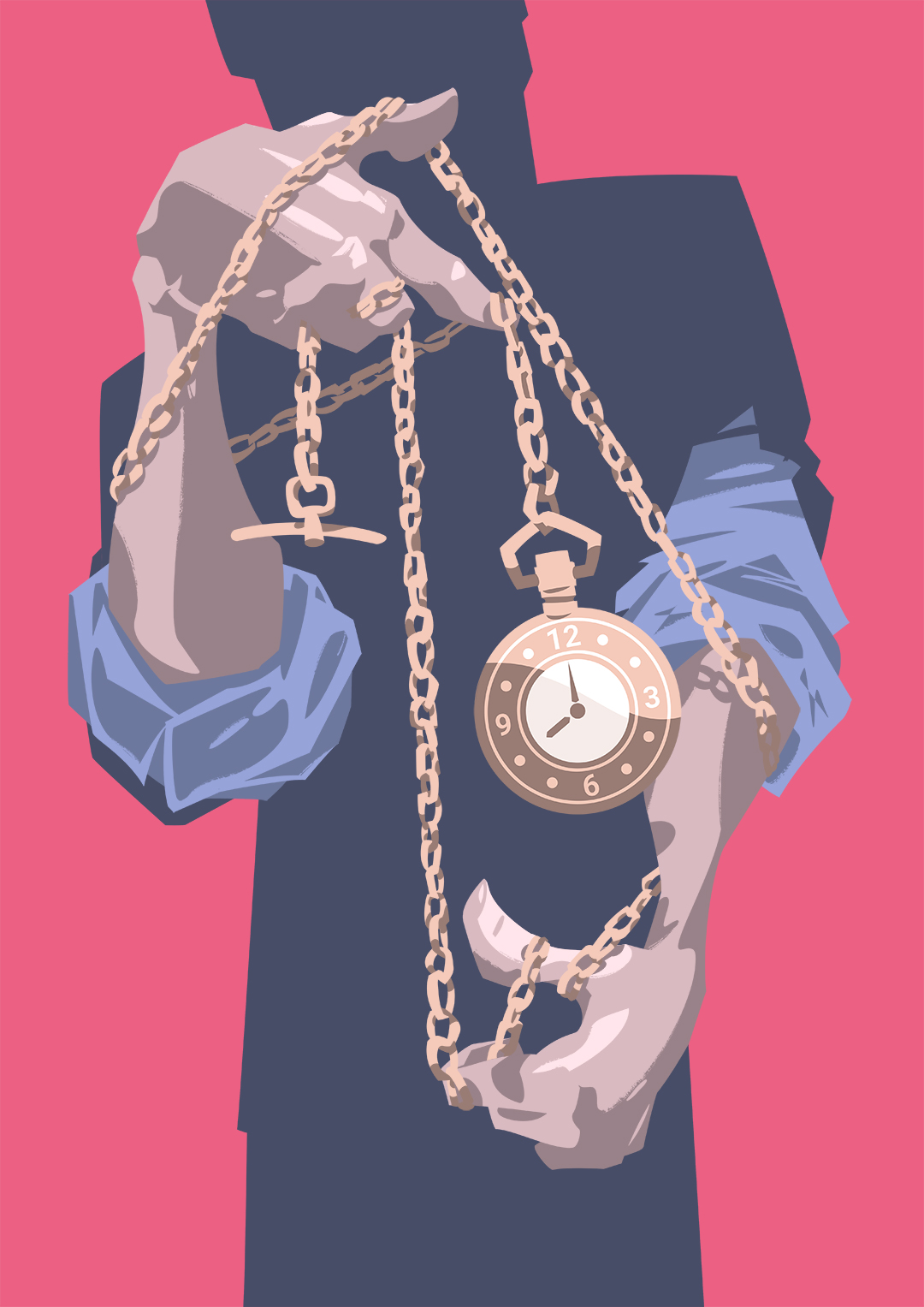 Entwined in its chain, of a pocket watch is swung by a shadowy figure.